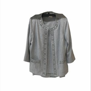 NWT Alfred Dunner Gray Suit Jacket & Skirt Size 14